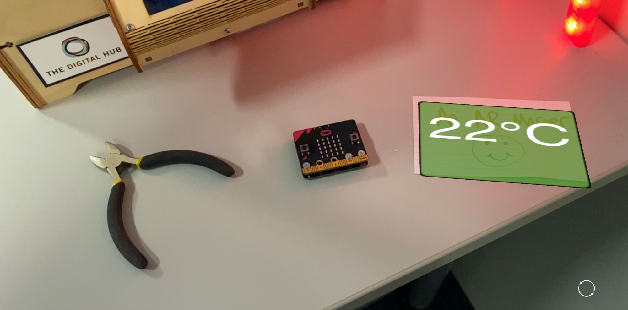 image from Demo: Augmented Reality view of live micro:bit sensor data